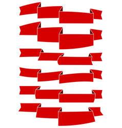 set of six red cartoon ribbons for web design vector image
