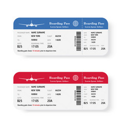 set of the airline boarding pass tickets with vector image