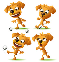set yellow funny dog playing soccer ball vector image