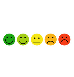 Simple emoji feedback face testimonial each green vector