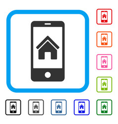 Smartphone homepage framed icon vector