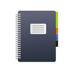 Spiral notebook with tabs - journal or book icon vector