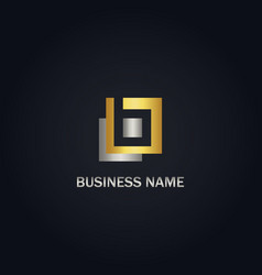 square geometry abstract gold logo vector image