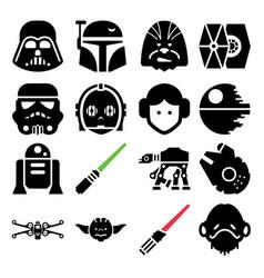 Star wars icon set vector