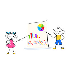 stick man girl and boy pointing on flip chart vector image