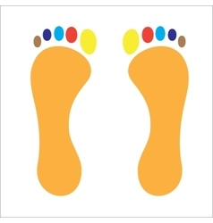 Stop footprint of man colored fingers vector image