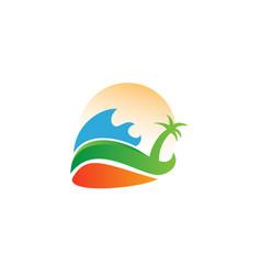 Summer bay logo design template vector