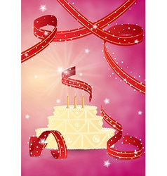 Sweet birthday cake and ribbons vector