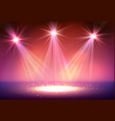 three spotlight on stage with smoke and light vector image