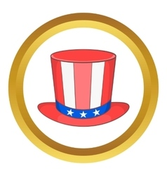 Top hat in the USA flag colors icon vector