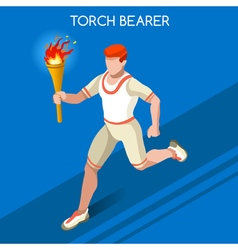 Torchbearer 2016 Summer Games 3D Isometric vector image vector image