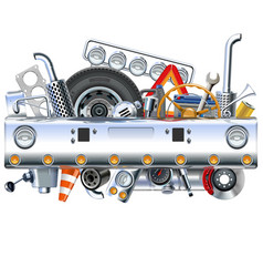truck bamper with spares vector image