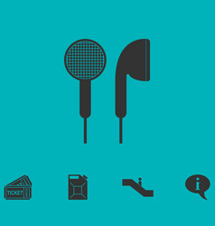 Vacuum headphones icon flat vector