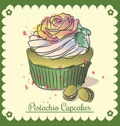 vintage card pistachio cupcakes vector image