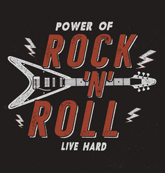 Vintage hand drawn rock n roll poster retro music vector