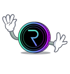 waving request network coin character cartoon vector image