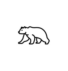 web line icon bear wild animals black on white vector image