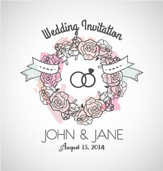 Wedding invitation rose vector image