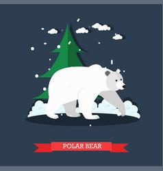 White polar bear in flat vector