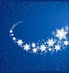 White snowflakes trail snowfall on blue vector