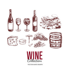 wine set hand drawn elements 2 vector image