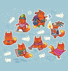 winter sticker set of foxes characters in cartoon vector image