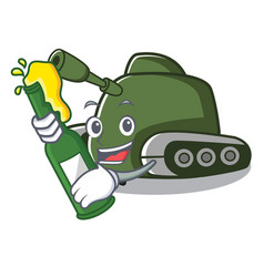 With beer tank mascot cartoon style vector