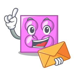 With envelope toy brick character cartoon vector