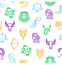 zodiacal thin line seamless pattern background vector image