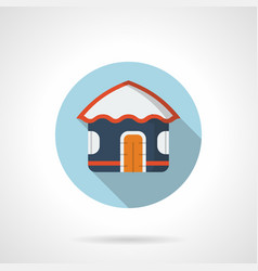 blue beach hut flat round icon vector image