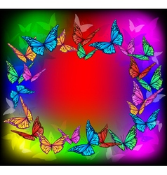 Bright butterfly frame vector image vector image