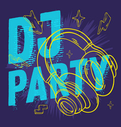 dj party design for your poster with headphones vector image vector image