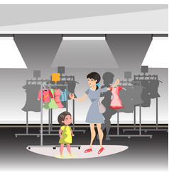 mommy and little daughter shopping together in vector image vector image