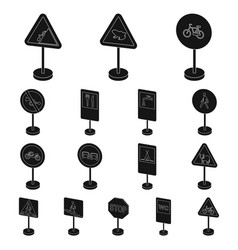 different types of road signs black icons in set vector image
