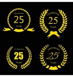 Golden laurel wreath 25 years set - jubilee vector image vector image