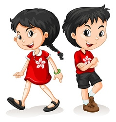 Little boy and girl from Hong Kong vector image vector image