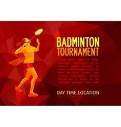 Professional badminton player banner template vector image vector image