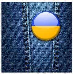 Ukraine Flag Badge On Jeans Denim Texture vector image vector image