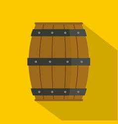 wooden barrel icon flat style vector image vector image