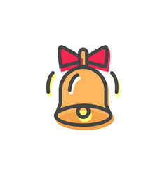 bell with red bow christmas vector image