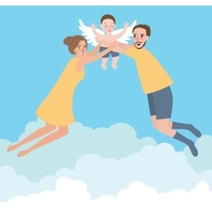 couple with their baby family flying wings happy vector image vector image