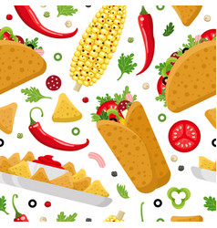 Mexican food color seamless pattern vector