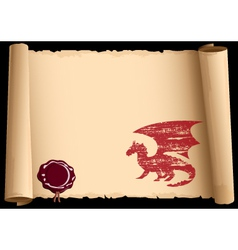 old scroll with symbol 2012 year of dragon eps10 vector image