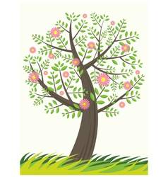 Single Tree and Flowers vector image
