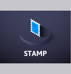 stamp isometric icon isolated on color background vector image