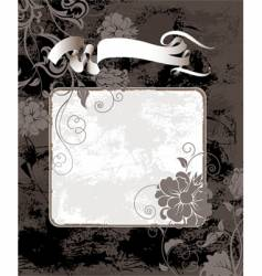 black grunge background with flowers vector image vector image