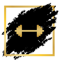 dumbbell weights sign golden icon at vector image vector image