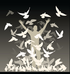 flock of pigeons vector image vector image