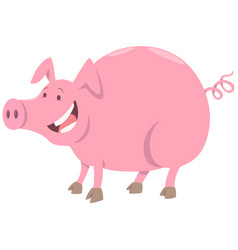 funny pig farm animal character vector image vector image