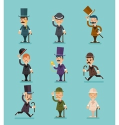 Gentleman Victorian Characters Different Poses and vector image vector image